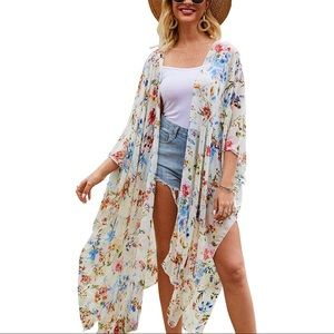 Other - Casual Cover Up Printed Kimono Cardigan Sheer Top